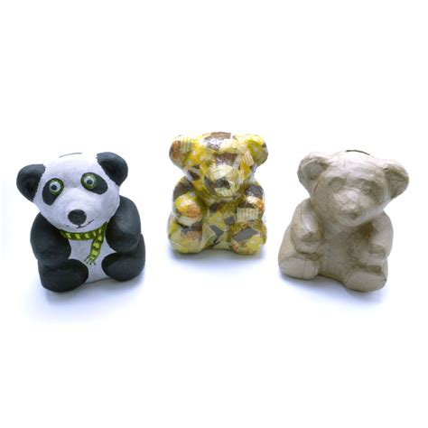 How To Make Teddy With Paper - paper mache teddy coin bank create your own from