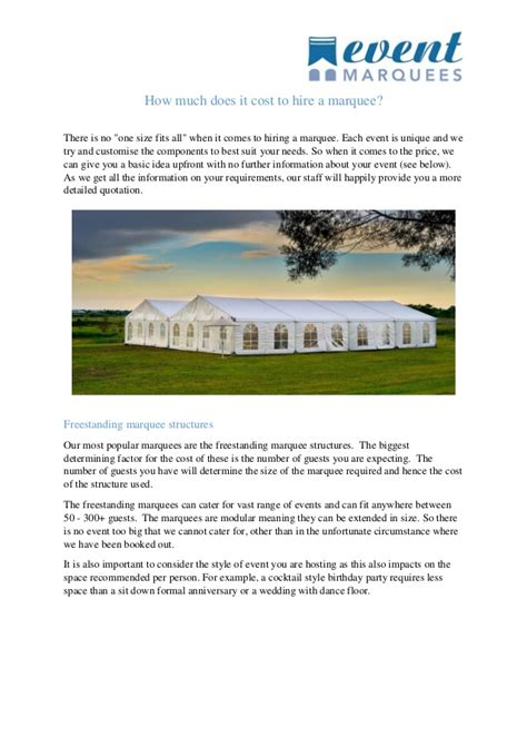 how much does it cost to hire a marquee
