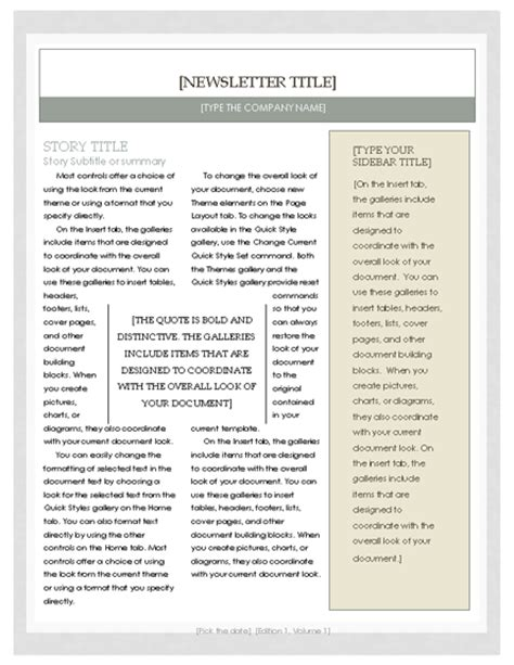 Free Templates For Newsletters In Microsoft Word by Free Newsletter Template Microsoft Word Newsletter Template Newsletter Templates Ready