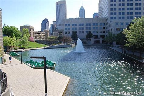 paddle boats on the canal in indianapolis photo of the canal fountain and paddle boats in