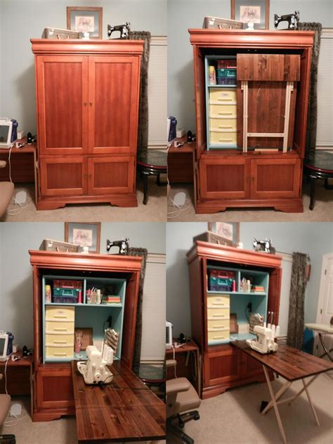 diy sewing armoire diy sewing table with storage woodworking projects plans