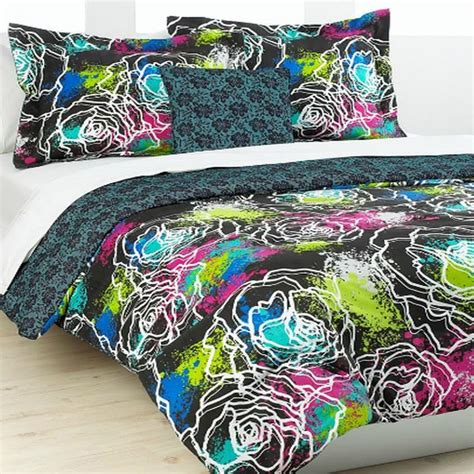 Neon Bed Sets Classic 4 Comforter Bed In A Bag Set Black Neon Ebay