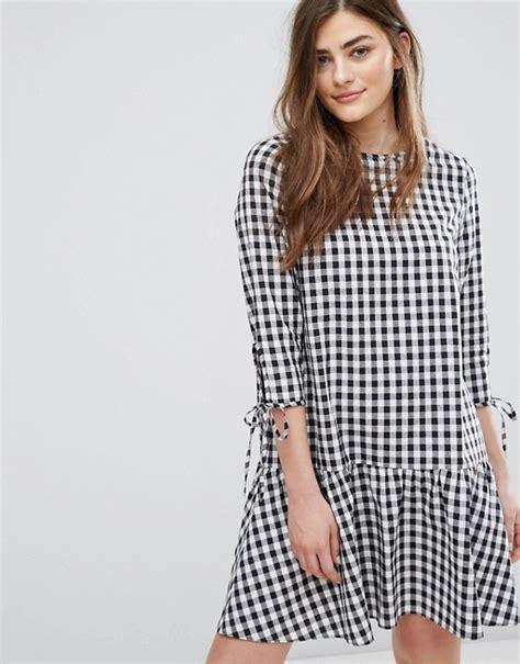 Mini Dress Gaun Grid Pattern 188937 Original Sale new look new look drop waist gingham smock dress
