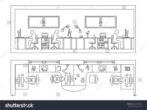 section office architectural set furniture design elements plan stock