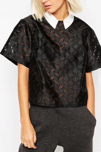Pleast Peterpan Cropped Shirt pan collar geometric sheer sleeve cropped shirt beautifulhalo