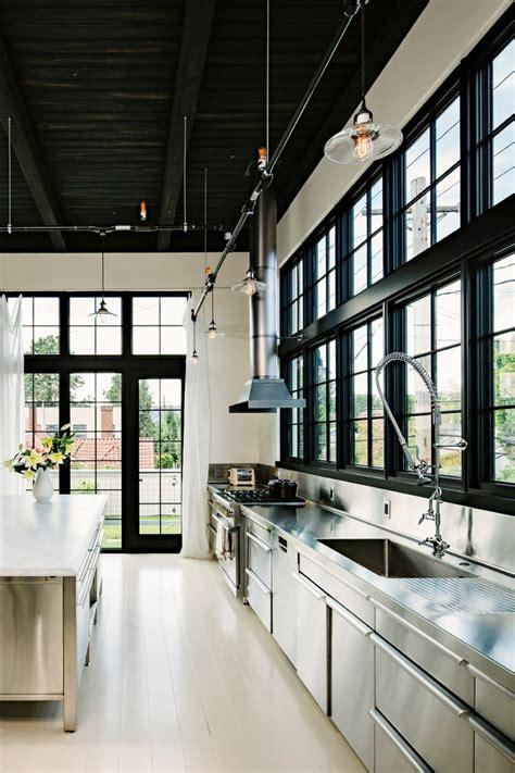 Edison Overhead Door Black Window Kitchen Industrial With White Wood Floors Black Trim