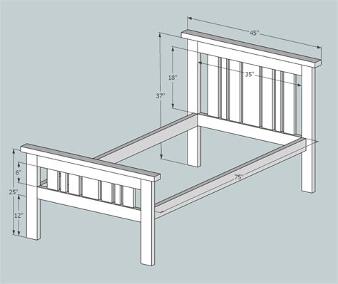 2x4 Bed Frame Plans White Simple 2x4 Misson Style Bed Diy Projects