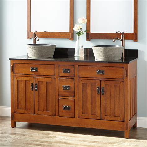 double bathroom vanity 60 quot american craftsman double vessel vanity rustic