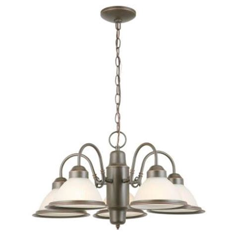 commercial electric chandelier commercial electric halophane 5 light rubbed bronze