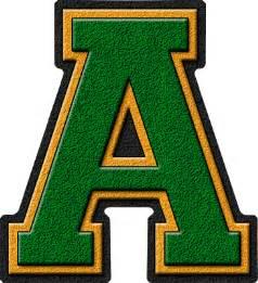 ð ð ð ð Presentation Alphabets Green Gold Varsity Letter A