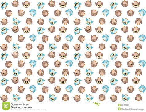 pattern blue brown seamless pattern with cute blue and brown owls on white