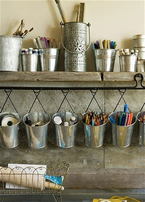 supply buckets craft room crafts decorating home