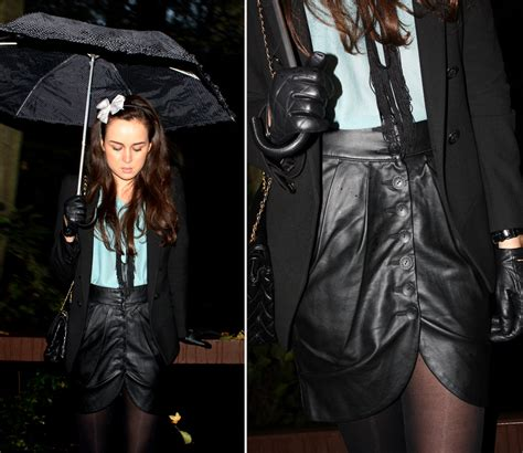 andy t leather skirt inwear leather gloves h m bow