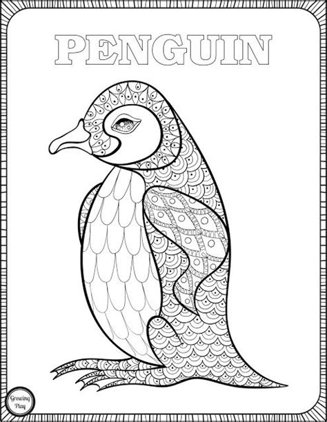 P For Penguin Coloring Page by Growing Play Penguin Coloring Page From Animal Coloring