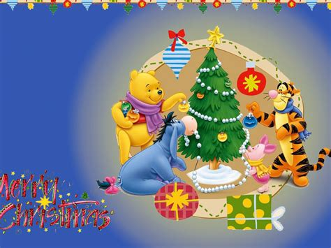merry christmas winnie  pooh decorating  christmas tree gifts cartoon photo desktop hd