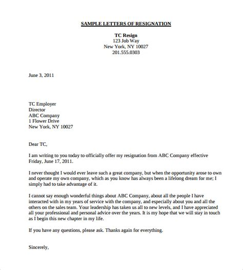 World Best Letter Of Resignation Exle Letter Of Resignation Shishita World