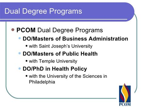 Dual Mba Med Degrees by Dual Degree Program At Osteopathic Schools
