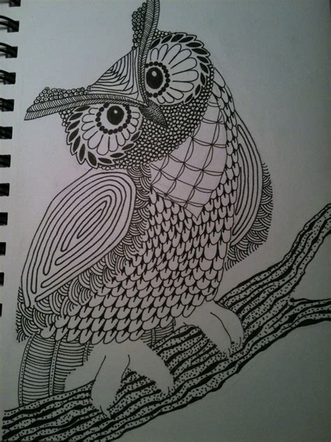 zentangle owl pattern zentangle halloween alecia miller