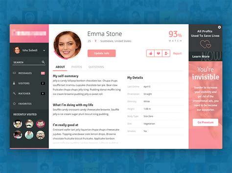 okcupid profile template profile page of a dating app by subash dharel dribbble