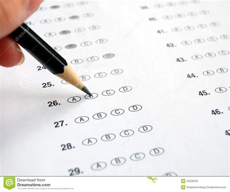 answering application assessment questions snagajob multiple choice exam stock photo image 42536555