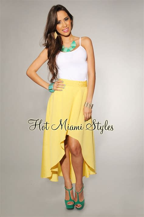 yellow woven waist high low skirt