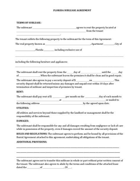 Sublease Agreement Florida Free Florida Lease Agreement Template