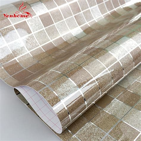 Promo Wallpaper Sticker 45cm X 10 Meter 1 10m pvc mosaic wall paper modern self adhesive wallpaper bathroom kitchen waterproof tile