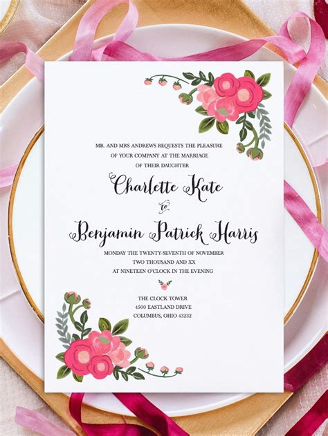 Print Pink Flowers Free Printable Invitation Templates Printable Invitation Templates Free