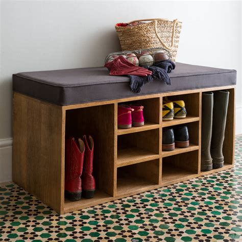 shoe storage with seat or bench shoe storage bench by within home notonthehighstreet com