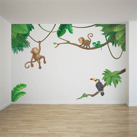jungle monkey childrens wall sticker set  oakdene