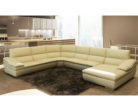 Italian Leather Sectional Sofa Modern Beige Italian Leather Sectional Sofa 44l5957