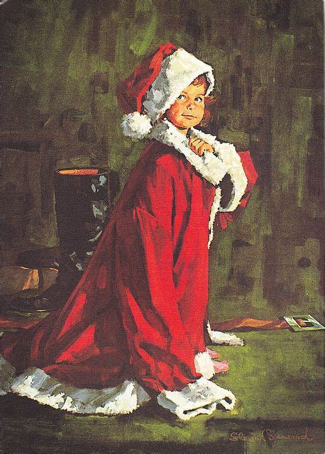 christmas child card norman rockwell santa  norman