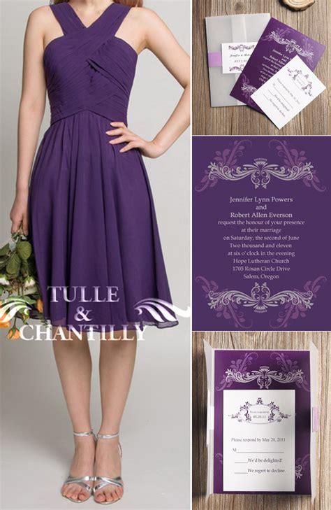 purple bridesmaid dresses tulle chantilly wedding