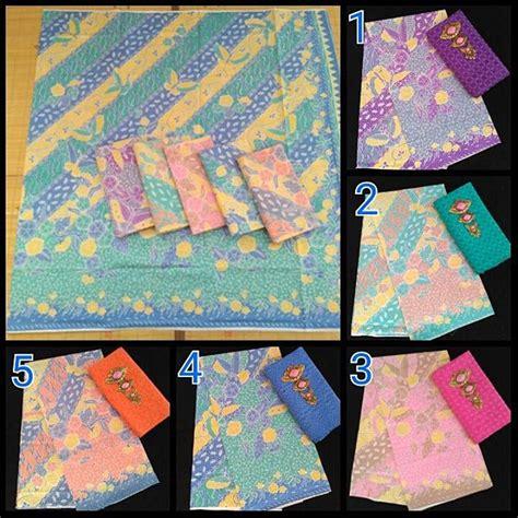 1 Set Kain Batik Print Prada Dan Embos 2 kain batik print soft motif hokokai dan kombinasi embos
