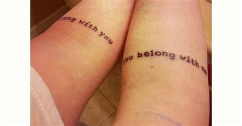 i belong with you you belong with me couples tattoos