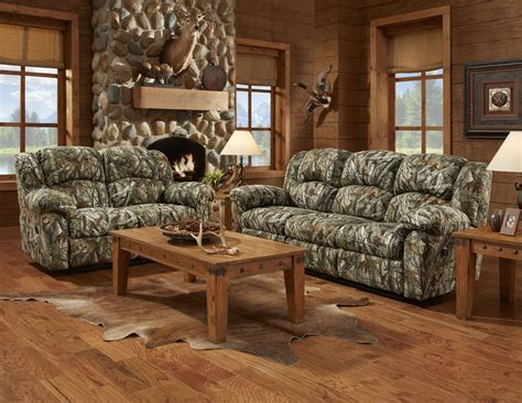 Camo Living Room by Mossy Oak Camouflage Reclining Motion Sofa Loveseat Camo