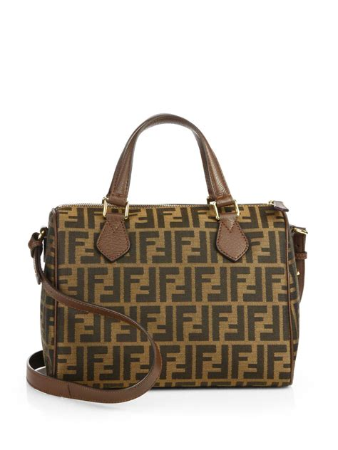 And Fendi Zucca For American Eagle by Fendi Zucca Boston Logo Jacquard Satchel In Brown Lyst