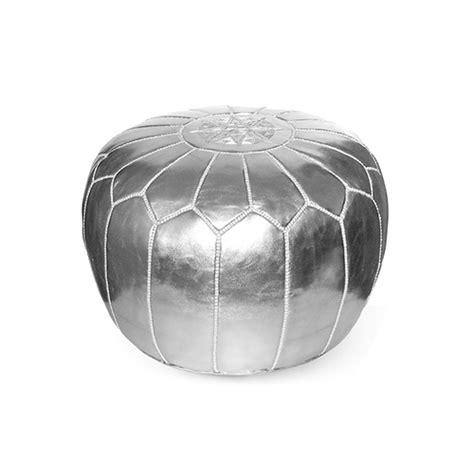 silver ottoman pouf moroccan leather pouf silver moroccan poufs ottoman love