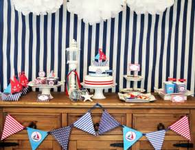 Preppy nautical birthday party deserts table party ideas party