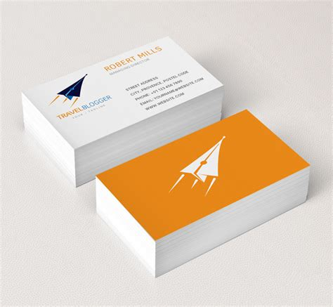 travel business card template with orange wavy designs travel logo business card template the design