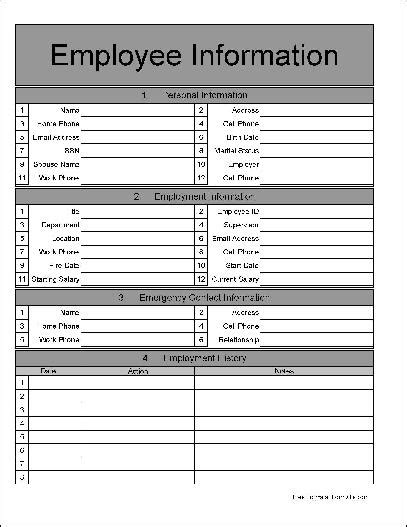 free wide numbered row employee information form from