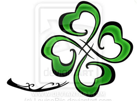 tribal 4 leaf clover tattoos tribal leafed cloverlouiseriis deviantart bow wow tattoos
