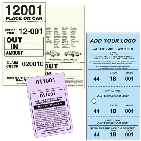 valet ticket template valet parking products