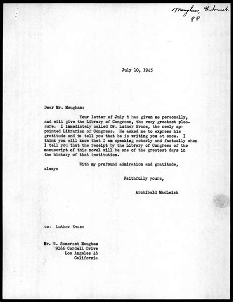 Guarantee Letter For Container Letter From Archibald Macleish To W Somerset Maugham July 10 1945 Library Of Congress