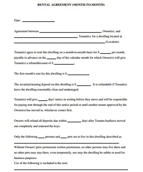 5 room rental agreement form templates formats exles