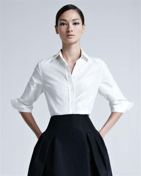 Carolina Herrera Lyst Carolina Herrera Silk Taffeta Shirt In White