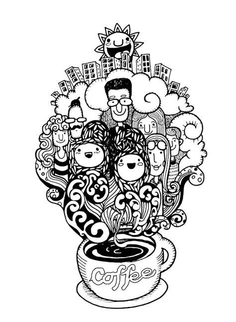 Hipster Duvet Hand Drawn Doodle Coffee Background Illustrator Line