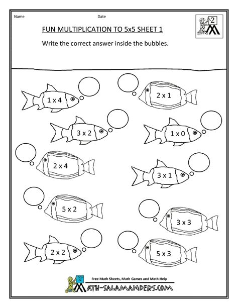 easy multiplication coloring pages free multiplication sheets fun multiplication to 5x5 1