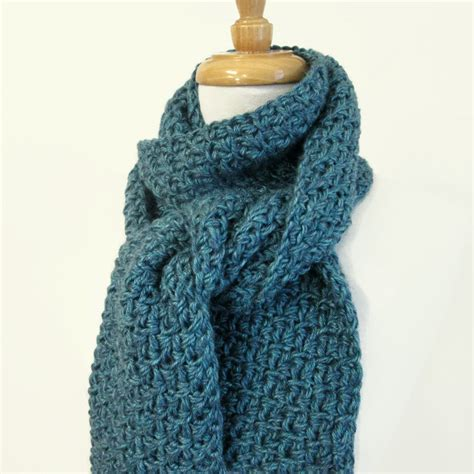 mens teal blue scarf knit crochet winter scarves