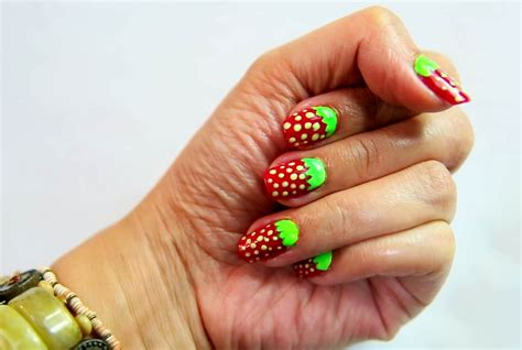 easy nail art wikihow how to do strawberry nail art 7 steps with pictures